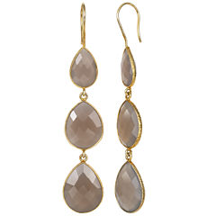 Gray Quartz 14K Gold Over Silver Drop Earrings