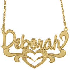 Personalized 14K Gold Over Silver Name Heart Pendant Necklace