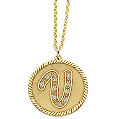 Personalized 14K Gold Over Silver Initial Pendant Necklace
