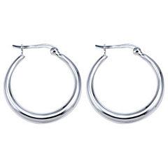 Thick Hoop Earrings Sterling Silver