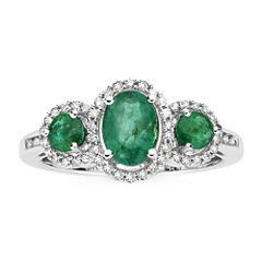 1/6 CT. T.W. Diamond & Genuine Emerald 10K White Gold 3-Stone Ring