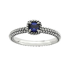 Personally Stackable Square Lab-Created Sapphire Ring