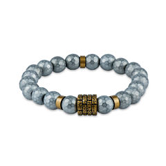 Mens Gray Hematite Beaded Bracelet