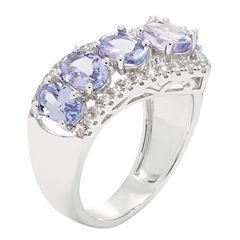 Womens Purple Tanzanite Sterling Silver Side Stone Ring