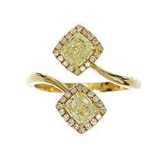 Womens 1 1/2 CT. T.W. Genuine Princess Yellow Diamond 18K Gold Bypass Ring