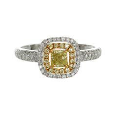 Womens 3/4 CT. T.W. Genuine Princess Yellow Diamond 18K Gold Engagement Ring