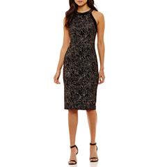 Bisou Bisou Sleeveless Leaf Sheath Dress