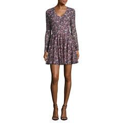 Rewind Long Sleeve Floral A-Line Dress-Juniors