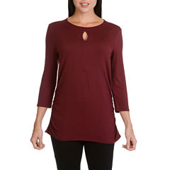 Larry Levine 3/4 Sleeve Slit Top