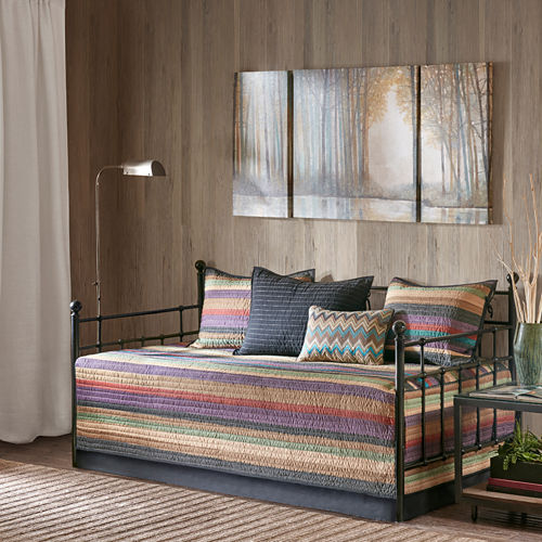 Madison Park Sequoia Microfiber Printed 6-pc. Stripes Daybed Cover Set