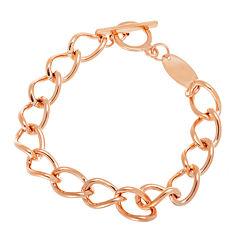 18K Rose Gold Over Stainless Steel Large Chain Link Bracelet
