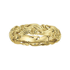 Personally Stackable 18K Yellow Gold Over Sterling Silver Carved Wave Ring