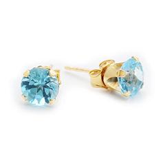 Genuine 6mm Blue Topaz 10K Yellow Gold Stud Earrings