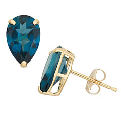 Pear Blue Topaz 10K Gold Stud Earrings