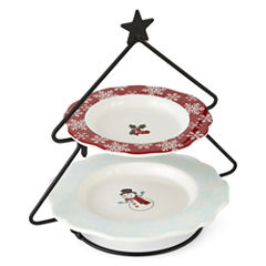 North Pole Trading Co. Holiday Snowman Tiered Server