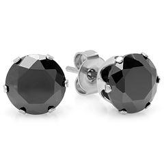 Round Black Cubic Zirconia Stud Earrings