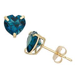 Heart Blue Topaz 10K Gold Stud Earrings