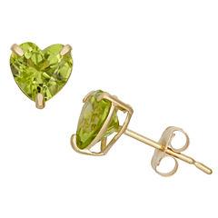 Heart Green Peridot 10K Gold Stud Earrings