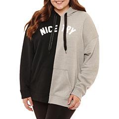 Flirtitude Split Graphic Sweatshirt-Juniors Plus