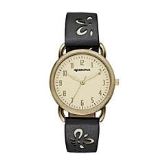 Arizona Womens Black Strap Watch-Fmdarz150