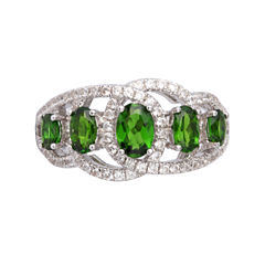 Womens Genuine Green Chrome Diopside Sterling Silver Side Stone Ring