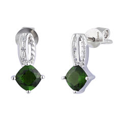 Green Chrome Diopside Sterling Silver Drop Earrings