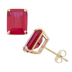 Emerald Red Ruby 10K Gold Stud Earrings