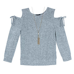 by&by girl Scoop Neck Long Sleeve Cold Shoulder Sleeve Blouse - Big Kid Girls