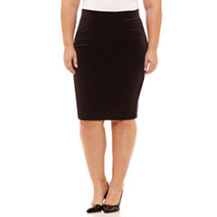 Boutique + Velvet Pencil Skirt Plus