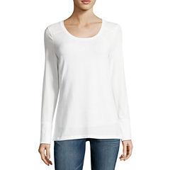 a.n.a Long Sleeve Crew Neck T-Shirt-Womens