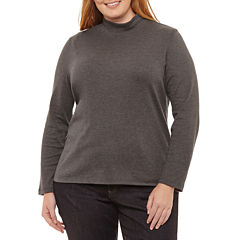 St. John's Bay Long Sleeve Mock Neck Tee-Plus