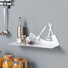 Danya B. White Metal Kitchen Utility Shelf with Kitchen Utensils Design