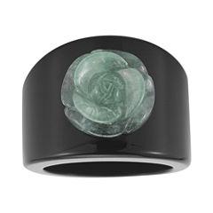 Jade & Onyx Carved Flower Ring