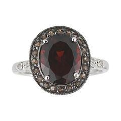 Garnet, Brown Quartz & White Sapphire Ring