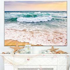 Design Art Foaming Waves Splashing The Sand Seascape Canvas Art Print