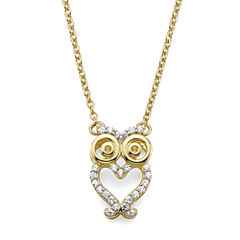 1/10 CT. T.W. Diamond 10K Yellow Gold Owl Pendant Necklace