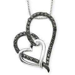 1/10 CT. T.W. Color-Enhanced Black Diamond Double Heart Pendant Necklace