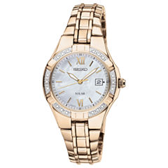 Seiko® Womens Diamond-Accent Solar Watch SUT070
