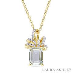 Laura Ashley Green Amethyst Cushion 18K Gold Over Silver Pendant