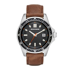 Skechers® Mens Brown Leather Strap Analog Watch