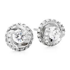 1 CT. T.W. Diamond Spiral 10K White Gold Stud Earrings