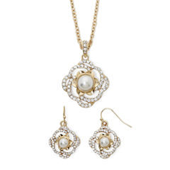 Monet® Simulated Pearl Flower Earring and Necklace Set