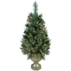 4' Pre-Lit Glitter-Tipped Golden Pine Potted Christmas Tree
