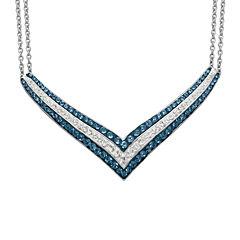 Blue & White Crystal Sterling Silver V-Necklace