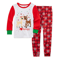 Rudolph The Red Nose Reindeer 2-pc. Pant Pajama Set Girls