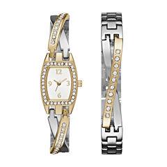 Geneva Womens Two-Tone Bangle Watch Boxed Set