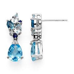 Genuine Swiss Blue and Sky Blue Topaz Drop Earrings
