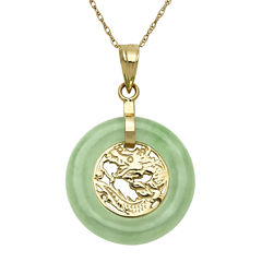 Green Jade 14K Yellow Gold Pendant Necklace