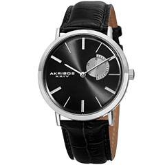 Akribos XXIV Mens Black Strap Watch-A-848ssb