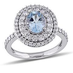 Womens Genuine Blue Aquamarine 14K Gold Engagement Ring